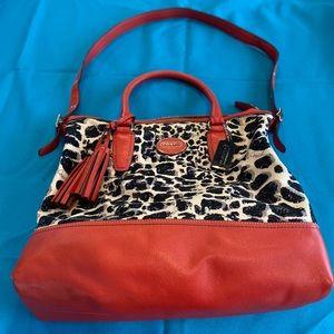 Coach No. E1220-19988 Ocelot Leopard Leather Bag